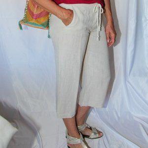 Tommy Hilfiger beige linen mix cropped pants